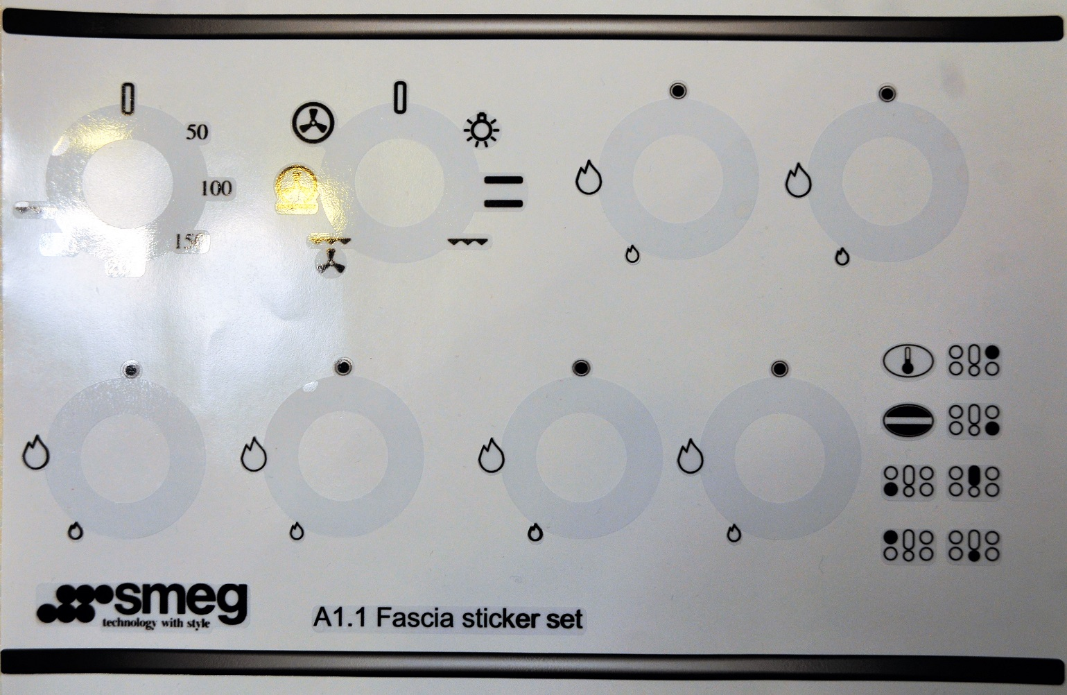 Smeg A1.1 Fascia panel decal sticker set, analogue clock.