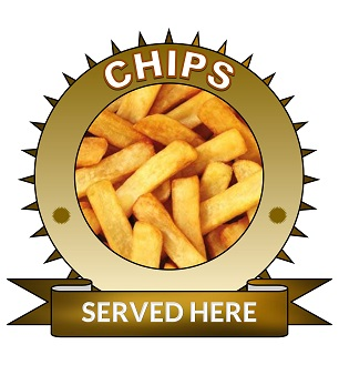 Large 25cm chips served here sticker.