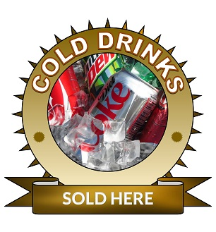Large 25cm cold drinks sold here sticker.
