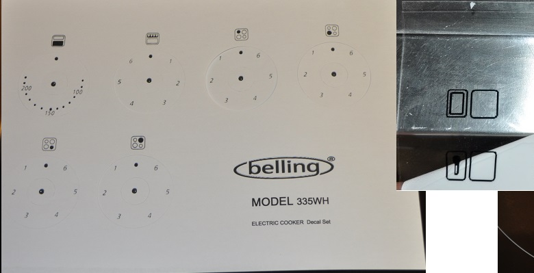 Belling 335WH electric oven facia. decal, stickers, clear vinyl