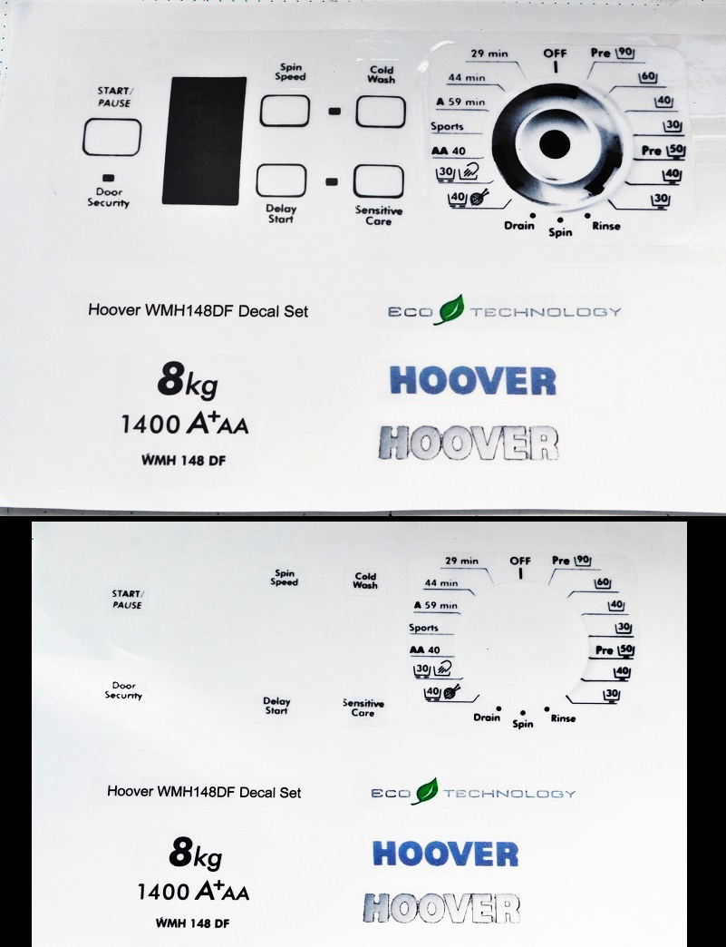 Hoover WMH148DF front panel sticker set.