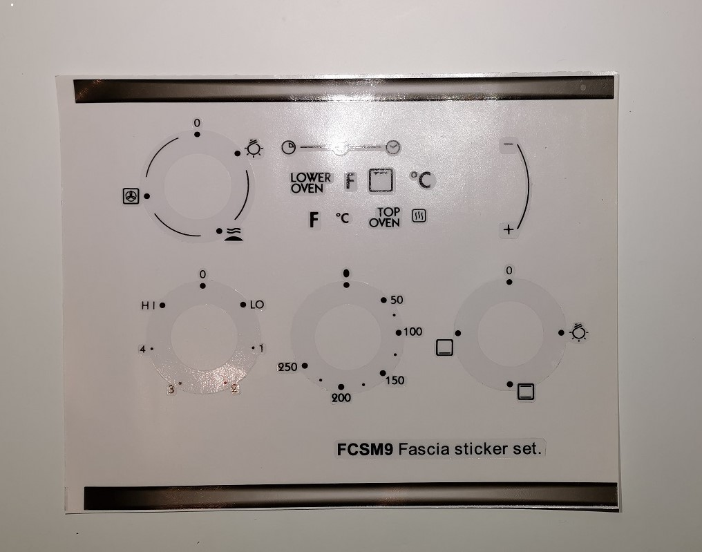 Whirlpool FCSM9 Oven panel fascia sticker set, may fit others.