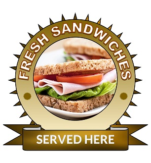 Large 25cm fresh sandwiches served here sticker.