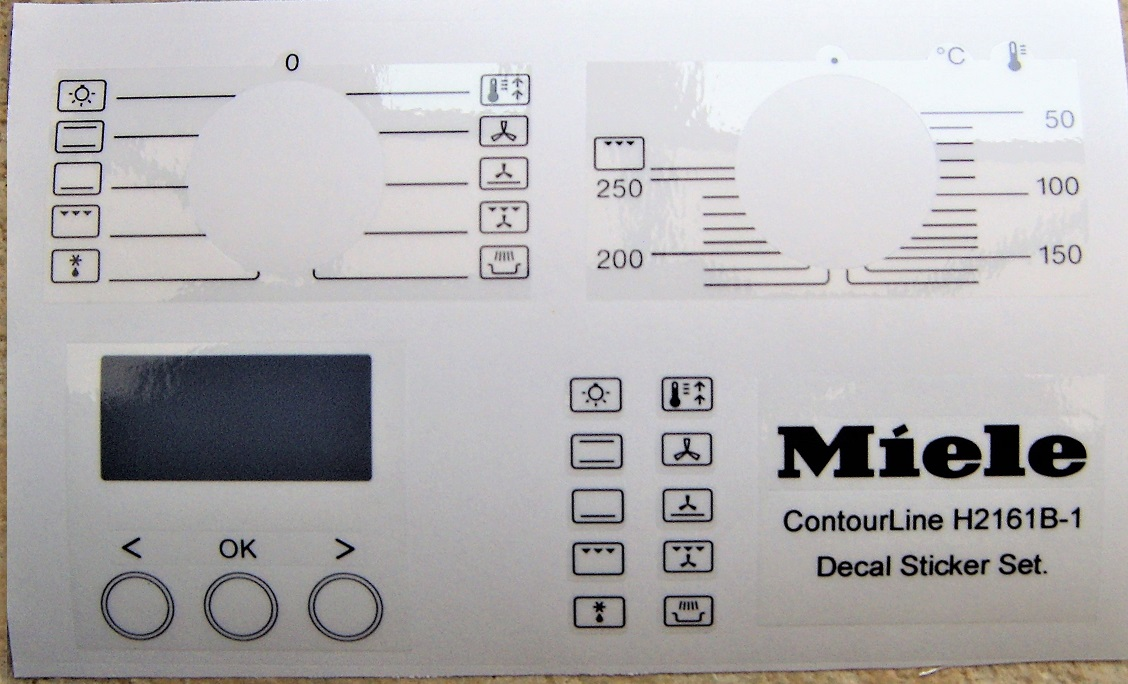 Miele Contourline H2161B-1 decal sticker set, may fit others.