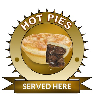 Large 25cm Hot pies served here sticker.