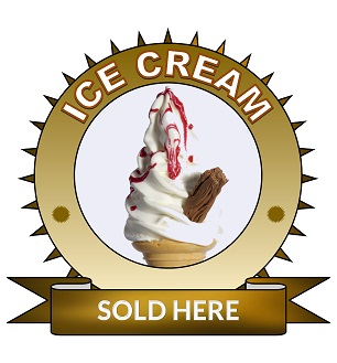 Large 25cm ice cream sold here sticker.