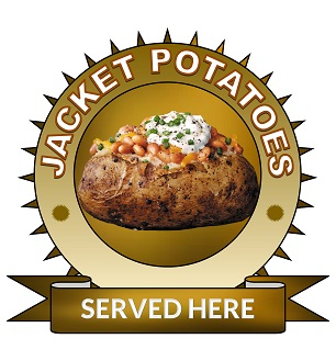 Large 25cm jacket potatoes served here sticker.