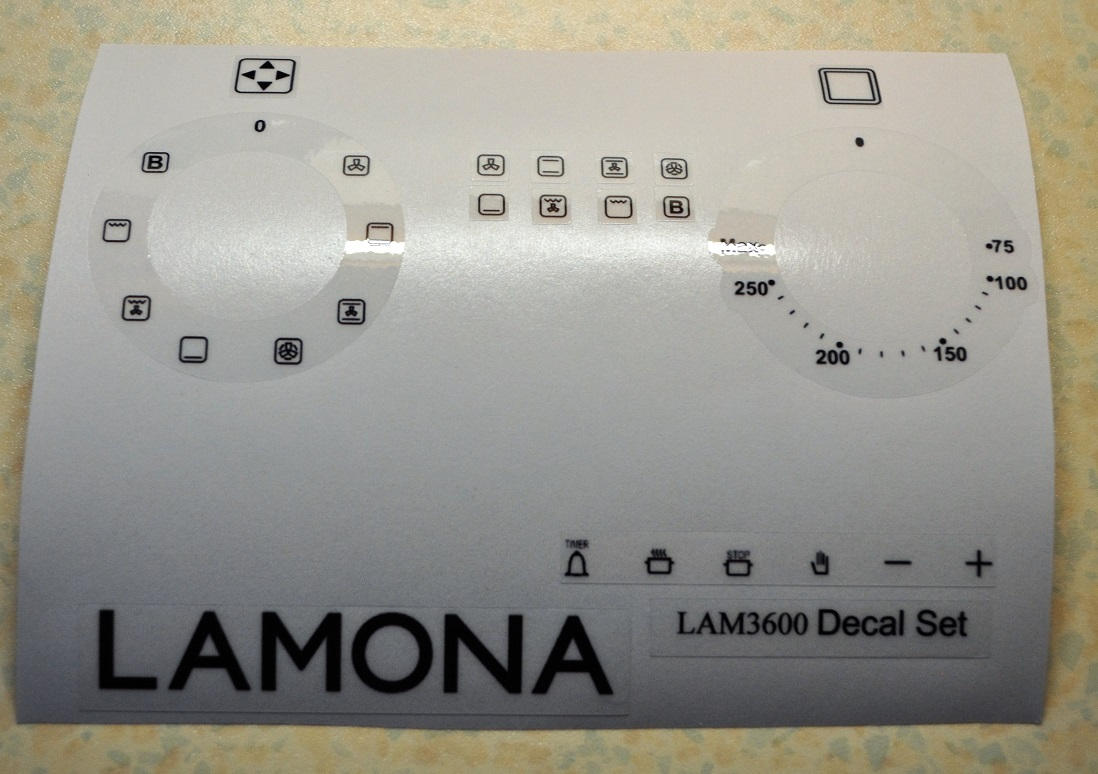 Lamona LAM3600 fan oven oven decal stickers etc.