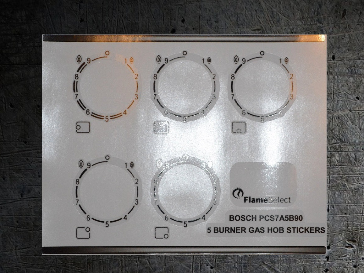 Bosch PCS7A5B90 compatible 5 burner hob stickers.