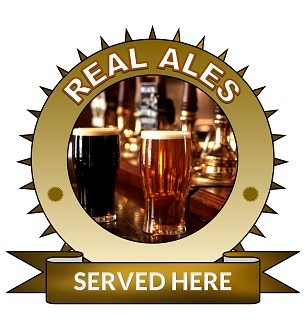 Large 25cm real ales served here sticker.