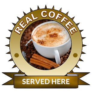 Large 25cm real coffee served here sticker.