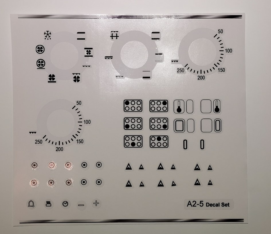 Smeg A2-5 range oven compatible panel fascia sticker set.
