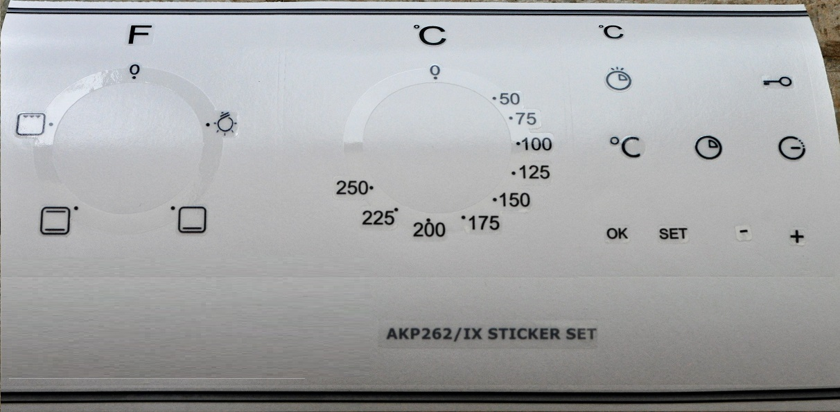 Whirpool AKP 262/IX compatible panel fascia sticker set.