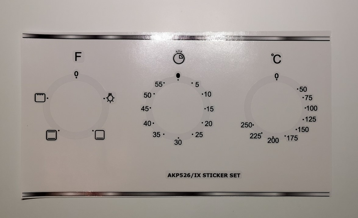 Whirlpool AKP526 compatible panel fascia sticker set.