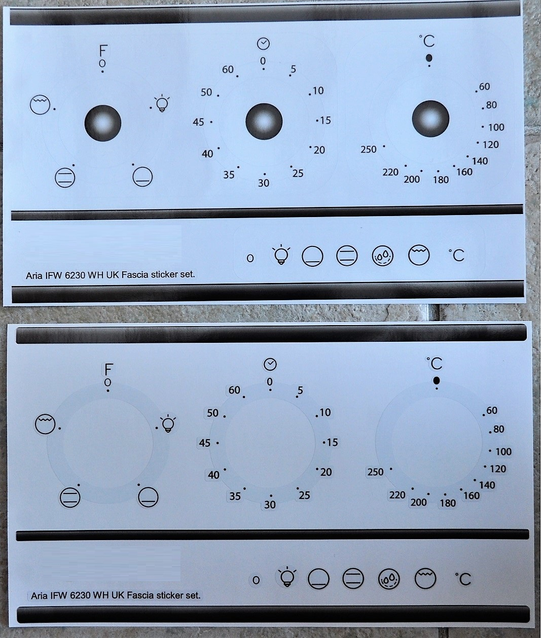 Indesit Aria IFW 6230 WH UK compatible fascia sticker set.