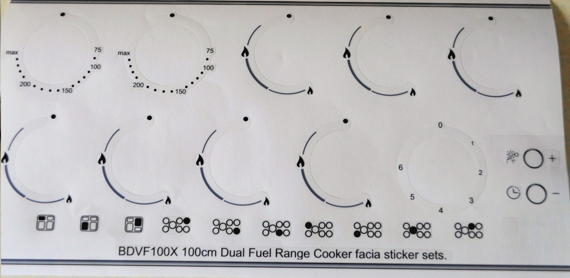 Beko BDVF100X Range Cooker compatible fascia sticker set.