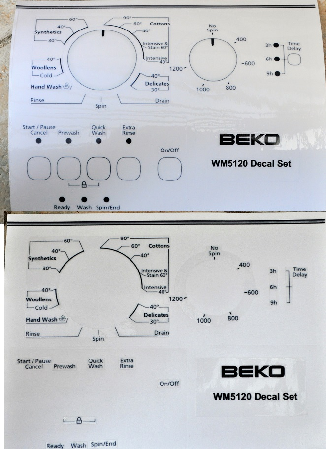 Beko WM5120 washing machine sticker set.