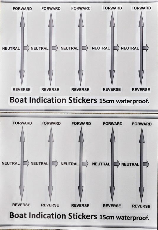Boat gear indicator decals in white and clear, whole sheet.