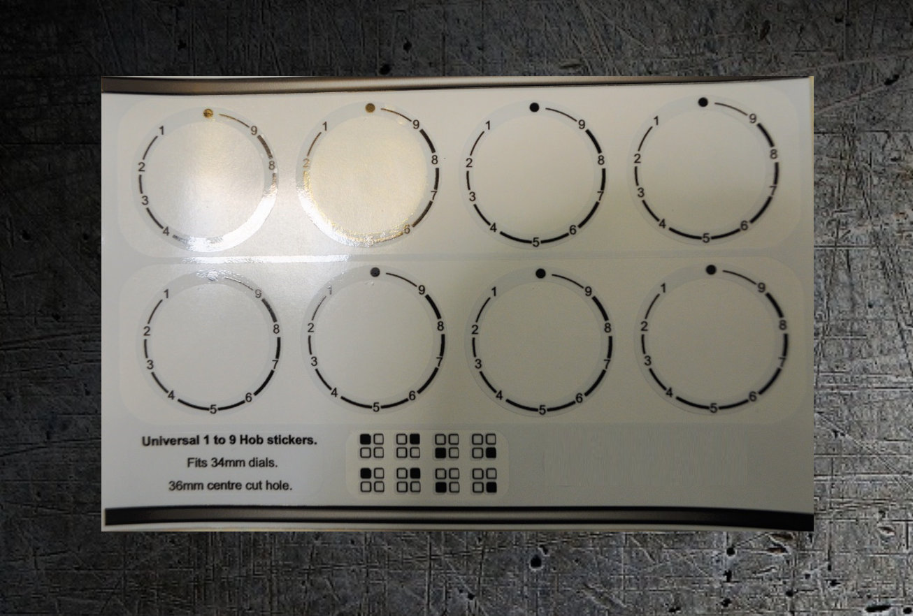 Universal 1 to 9 anticlockwise hob stickers, fit some Bosch 34mm