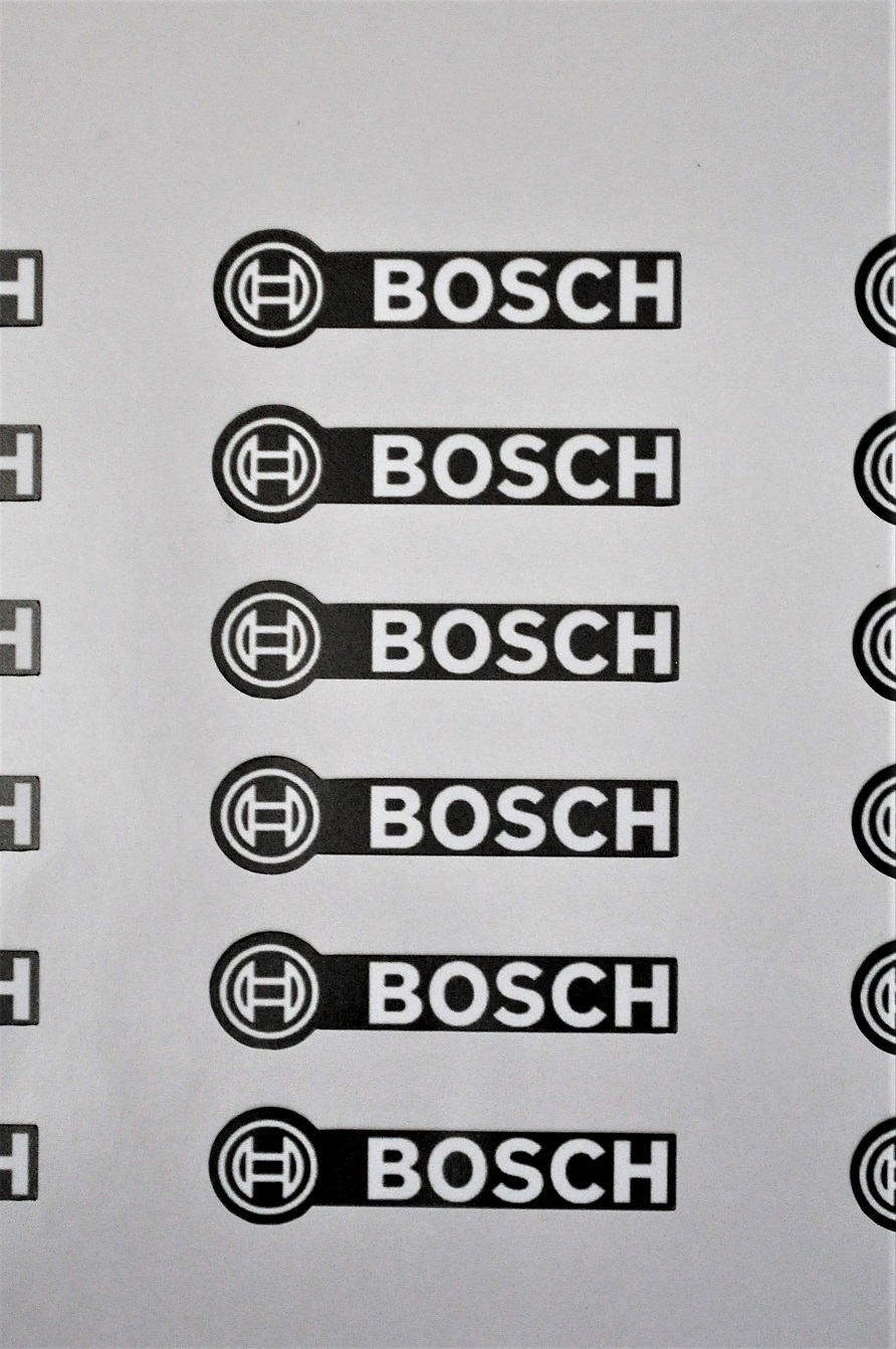 6 x Bosch emblem stickers, inverted for black.
