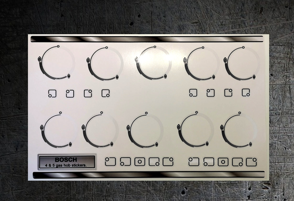 Bosch 4 and 5 gas burner hob compatible sticker set.