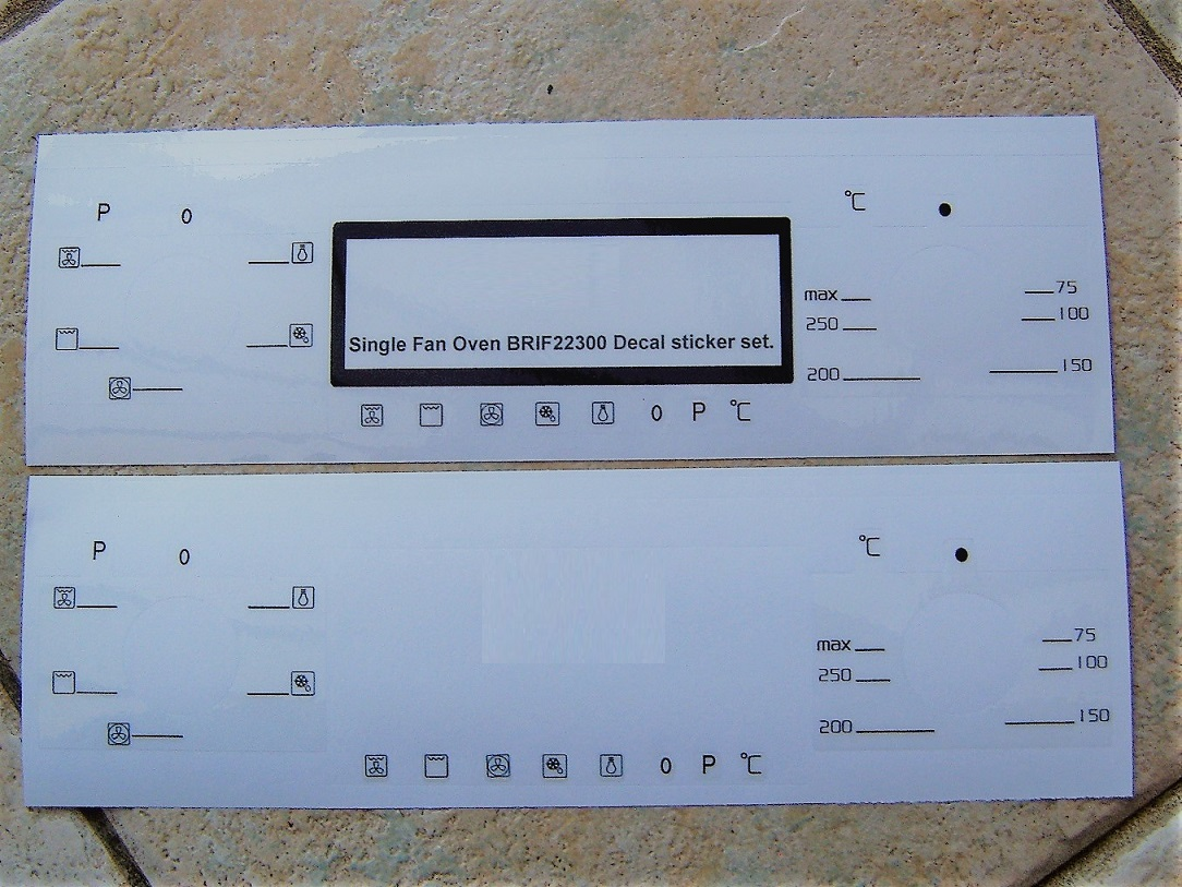 Beko BRIF22300 compatible fascia sticker set.