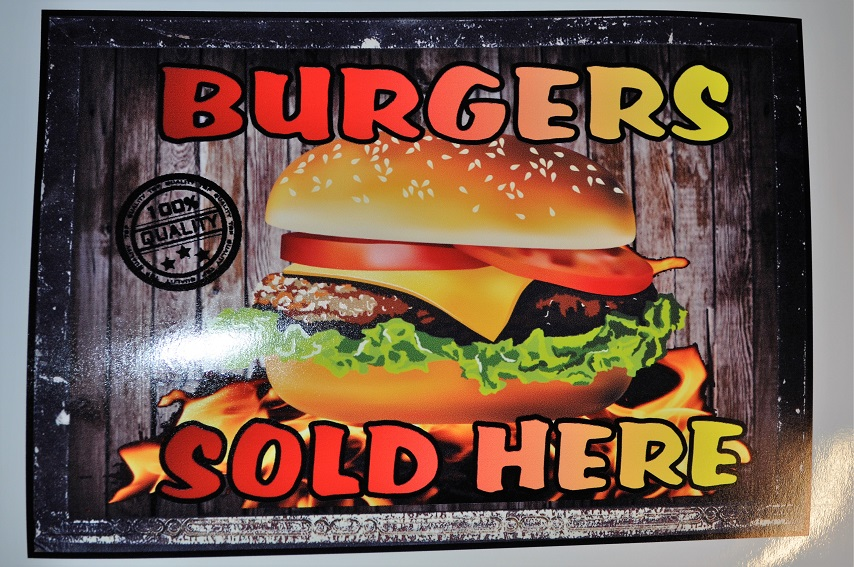 Burgers sold here stickers for catering, burger van etc.