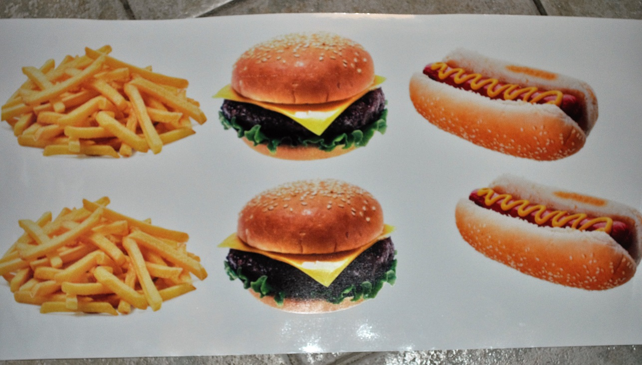 Burger chips and hotdog stickers for catering, burger van etc.