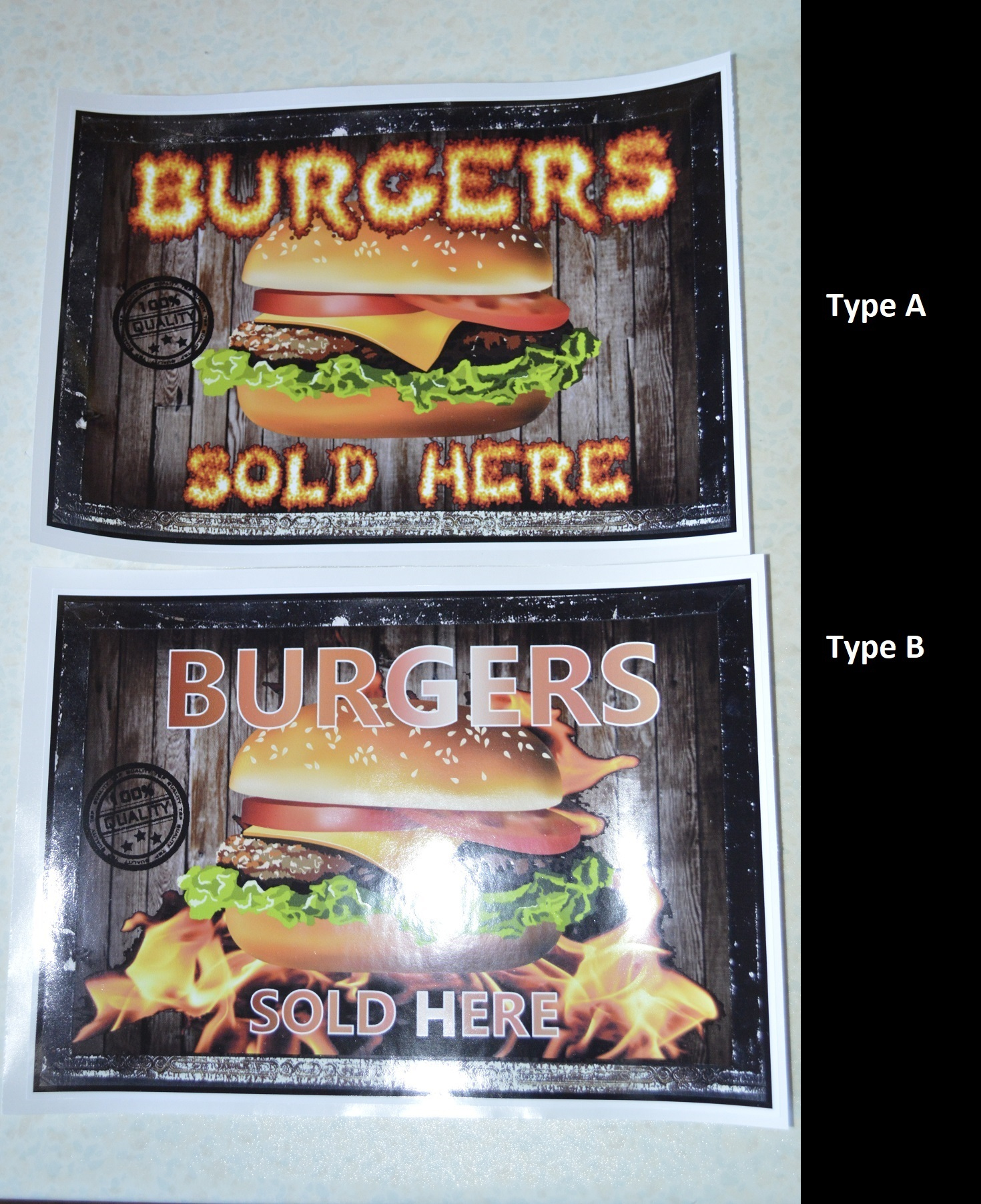 4 x Burgers sold here stickers for catering, burger van etc.