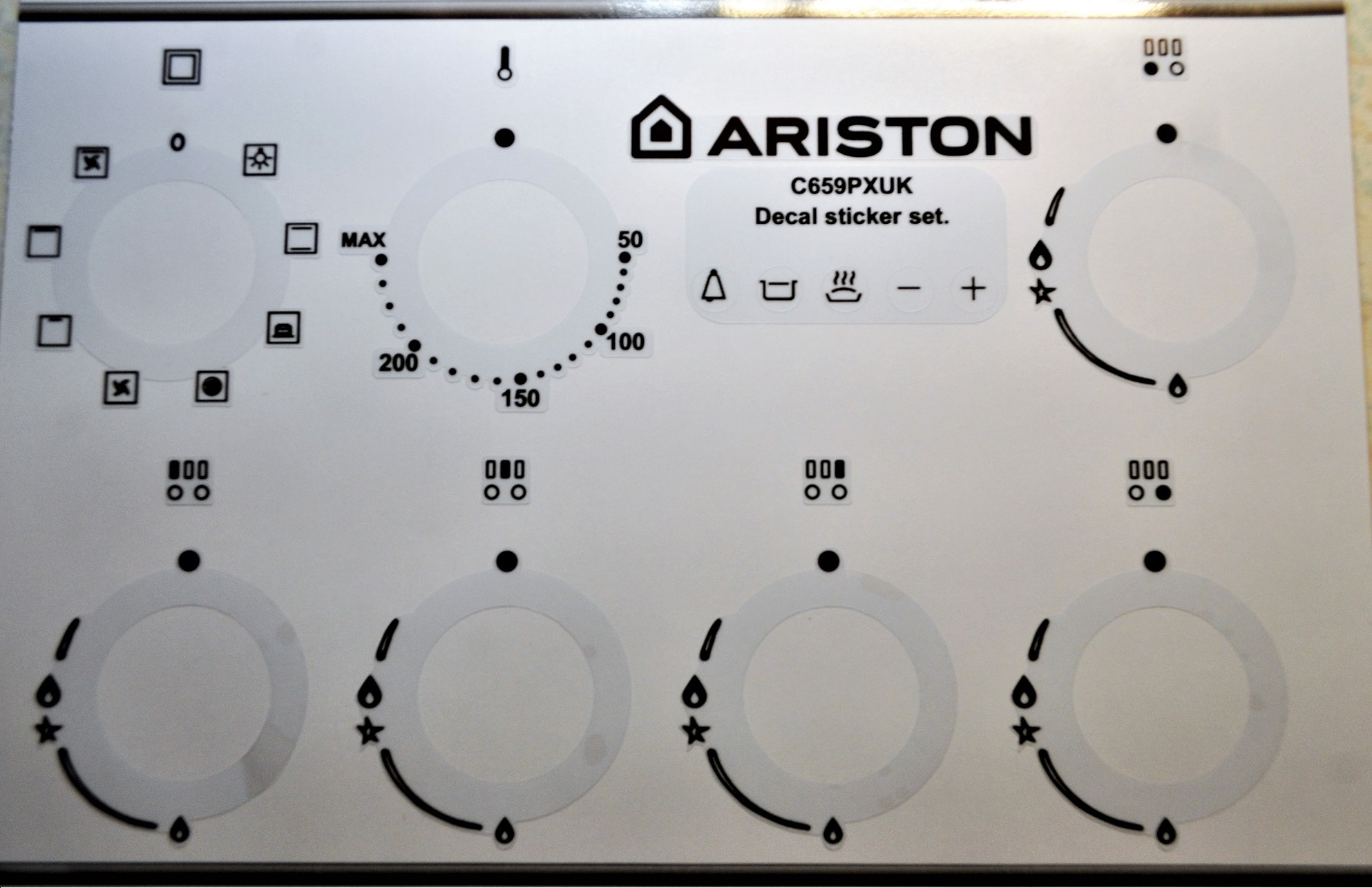 ARISTON Cucina C 659 PX UK sticker decal set for worn fronts.