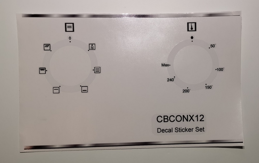 Currys Essentials CBCONX12 compatible oven fascia sticker set.