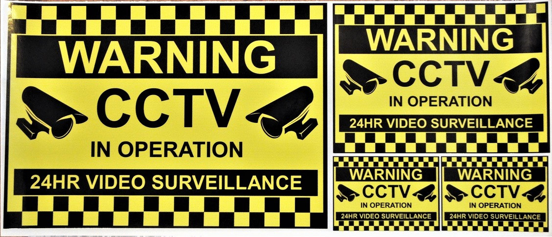 WARNING CCTV CAMERAS SET OF 4 SIGNS LARGE & SMALL VINYL STICKERS