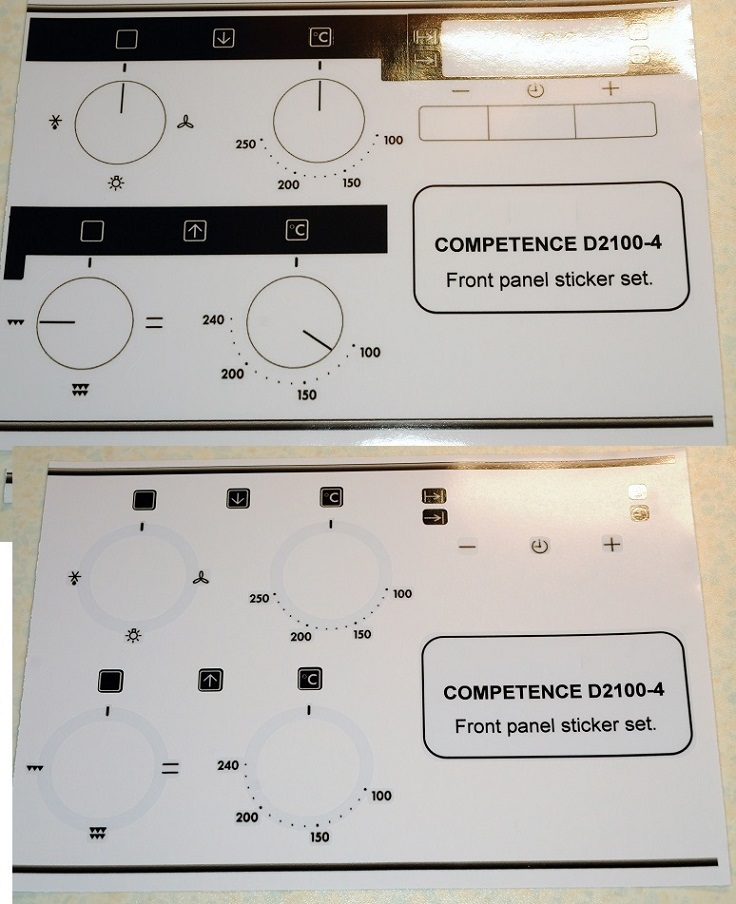 AEG COMPETENCE D2100-4 compatible sticker set for worn fronts.