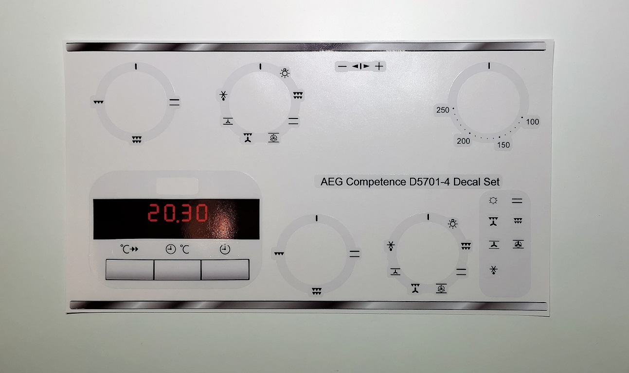 AEG COMPETANCE D5701-4 compatible sticker set, may fit others.