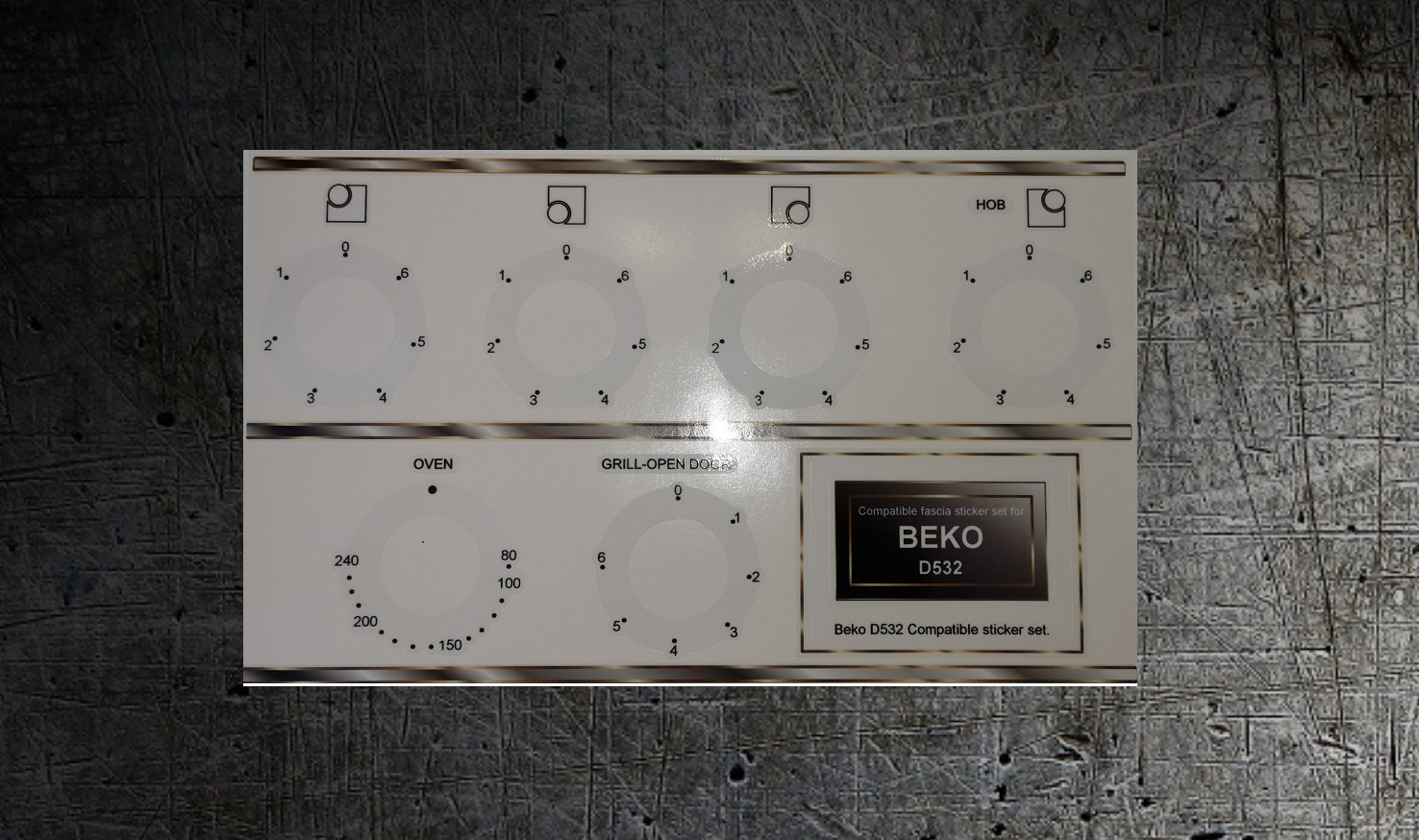 Beko D532 50cm compatible electric cooker fascia stickers.