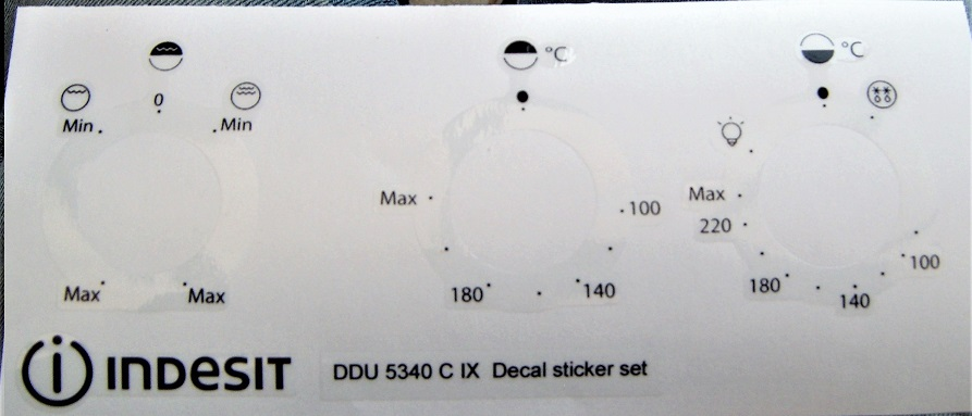 Indesit DDU 5340 C IX front panel decal stickers for worn.