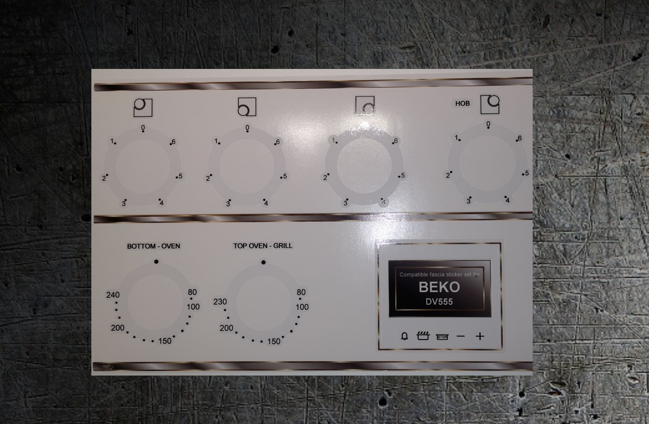 Beko DV555 electric cooker compatible stickers for worn fronts.