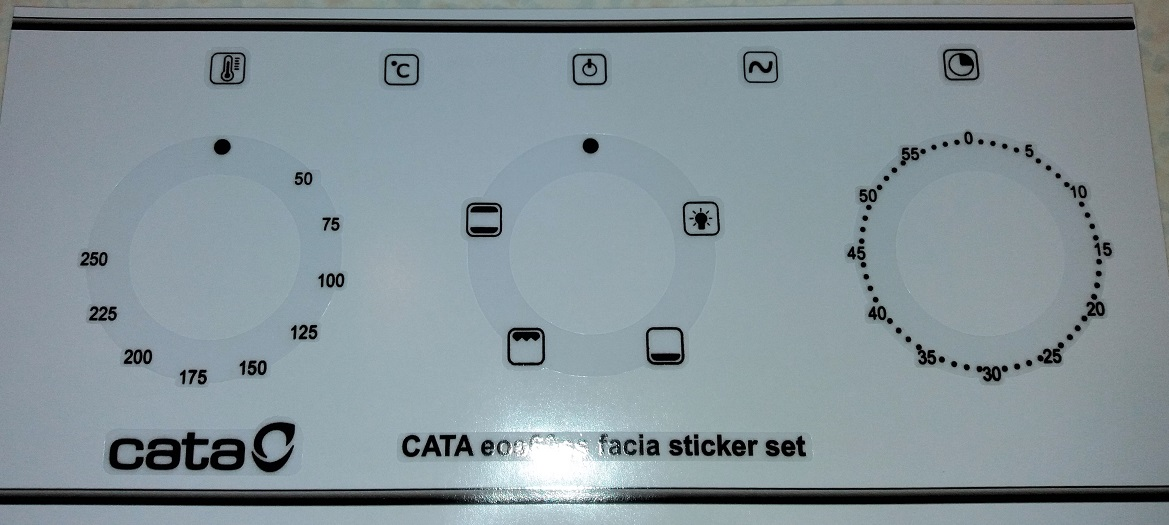 CATA EOS60SS Oven front panel sticker set, decals.