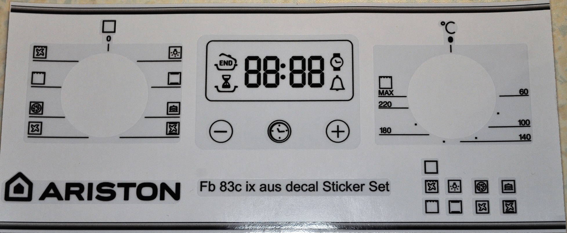 Ariston FB 83C IX front panel sticker set.