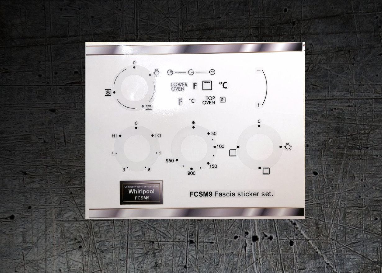 Whirlpool FCSM9 compatible panel fascia sticker set.