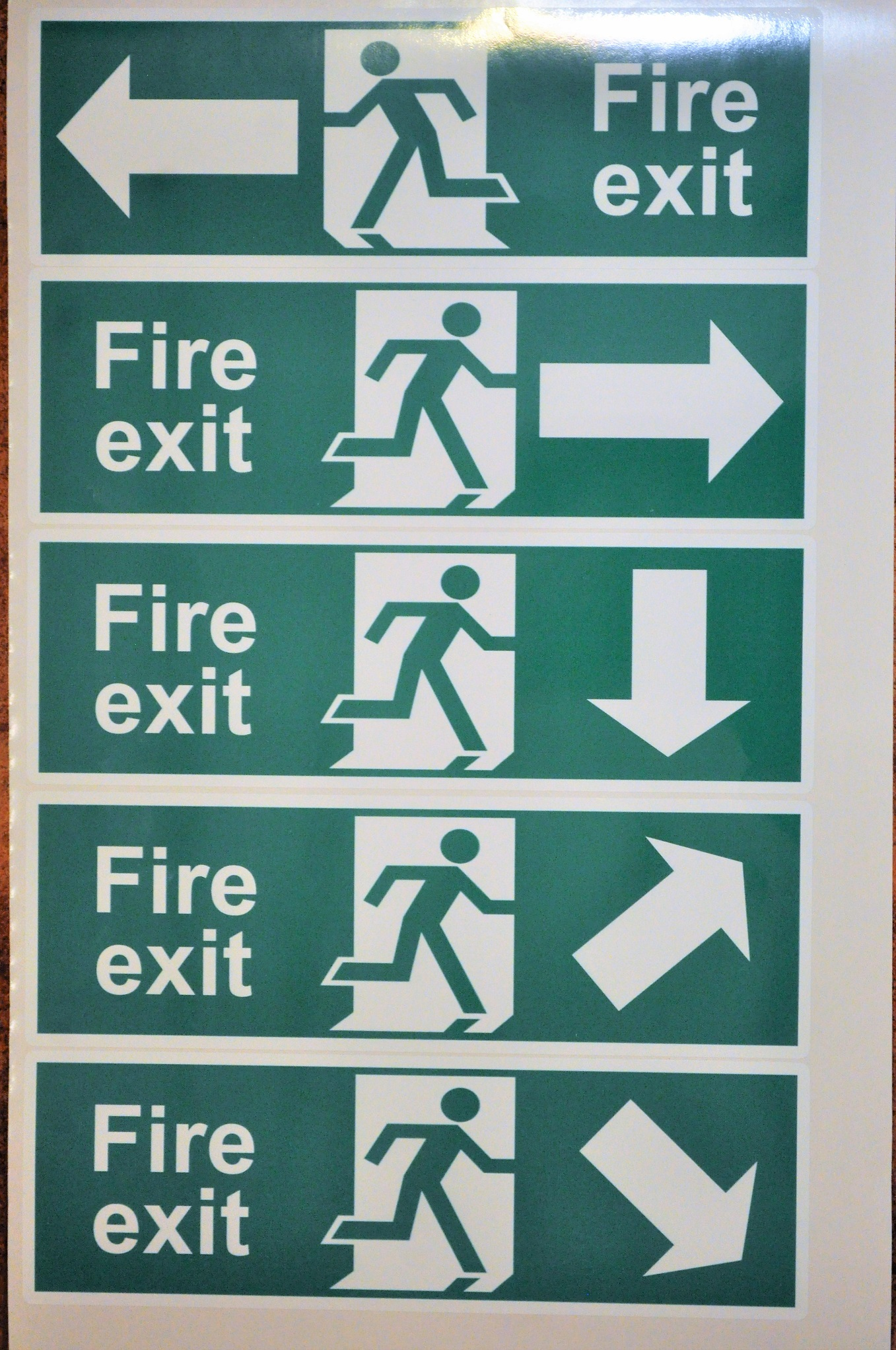 Set of 5 Running man fire exit stickers, 310 x 101mm ea