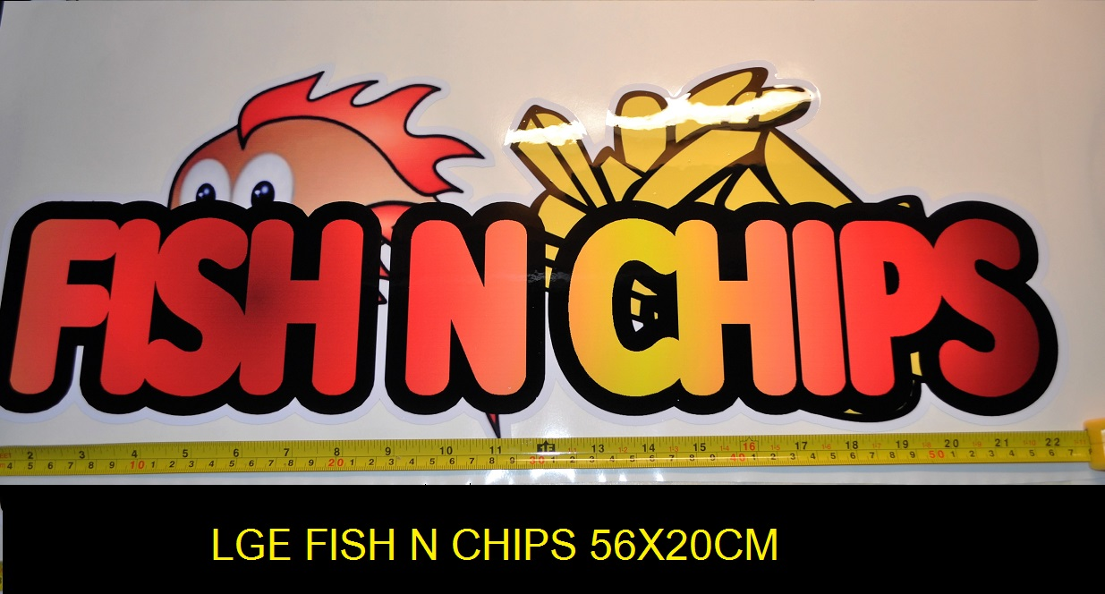 Large 56X20cm fish n chips sticker for catering, etc