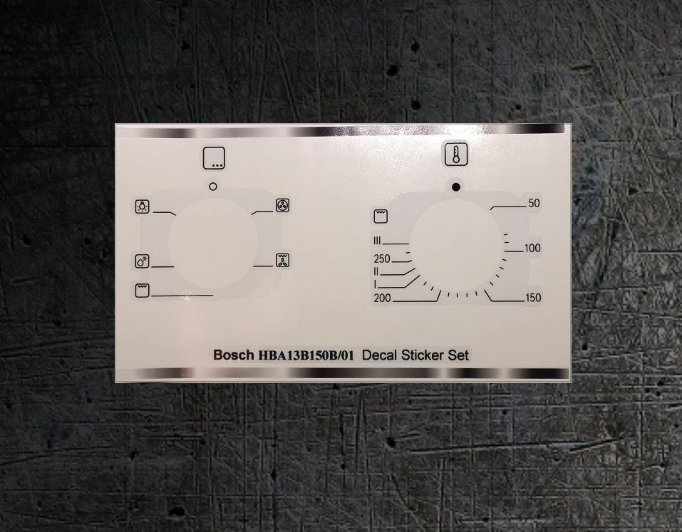 Bosch HBA13B150B compatible sticker set for worn fronts.