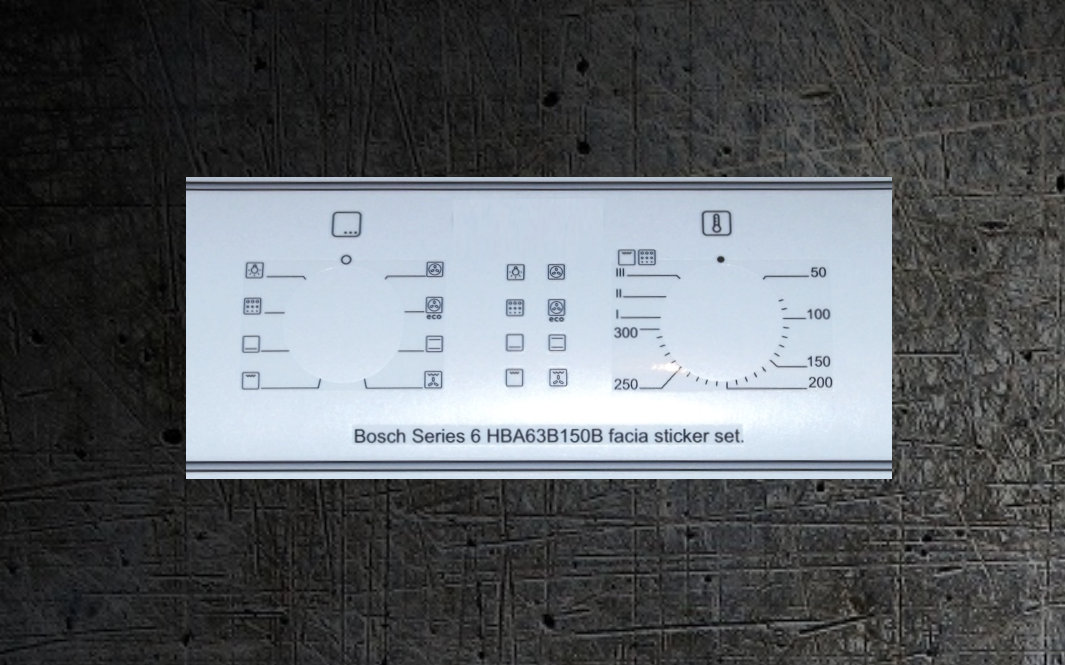 Bosch HBA63B150B decal sticker set for worn fronts.