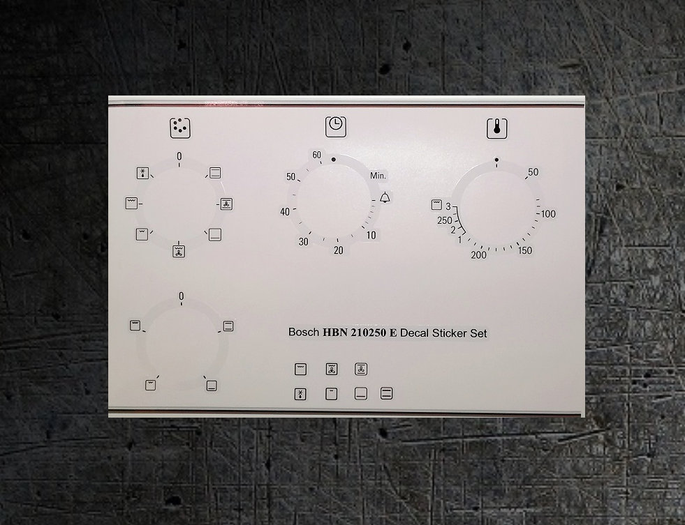 Bosch HBN210250E compatible fascia sticker set for worn fronts.