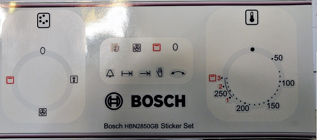 Bosch HBN2850GB Oven fascia stickers, may fit others.