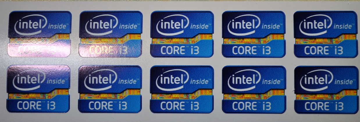 Core i3 high quality vinyl case stickers x 10 measure 20x27mm.
