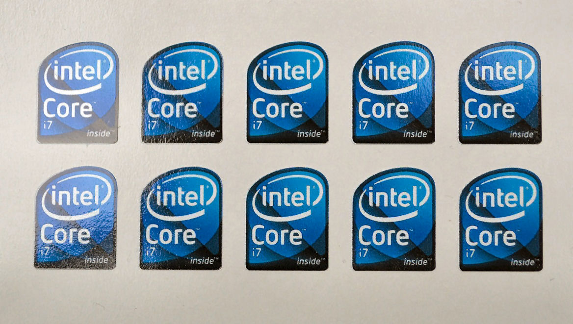 Core i7 Bloomfield high quality vinyl small case stickers x 10