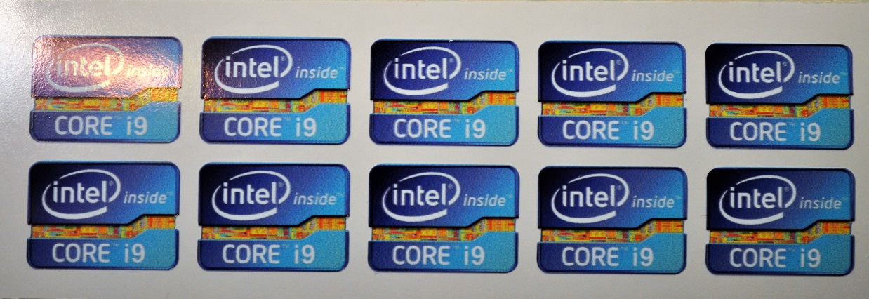Core i9 high quality vinyl case stickers x 10 measure 20x27mm.