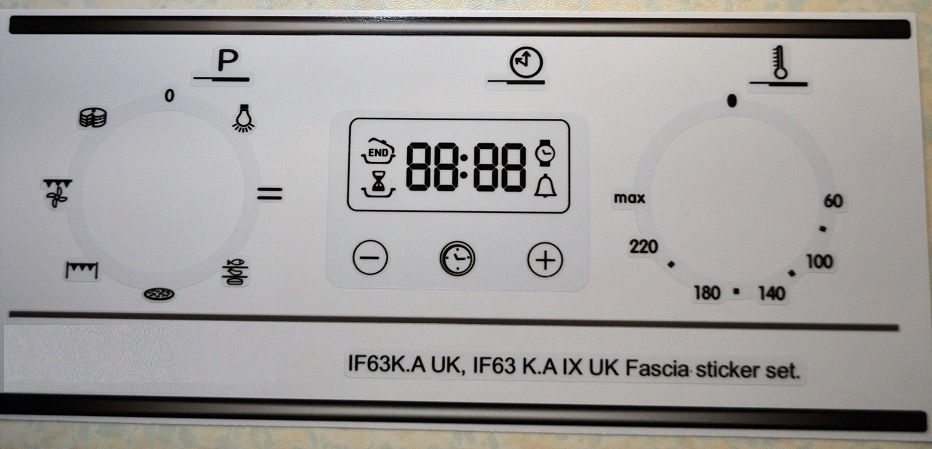 Indesit IF63K.A.UK compatible fascia decal sticker set.